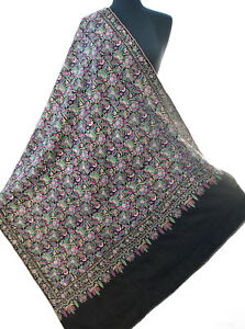 """Masterpiece Hand Embroidered Sozni Wool  Kashmir Shawl Peacock Colors 79""""x36"""""""