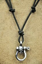 PN39 Cool Mens Surfer Beach Genuine Black Leather Choker Necklace Special Skull