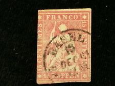 Schweiz Helvetia ab 1854 - Sitzende Helvetia (sog. Strubel) 15 Rappen     Nr.13