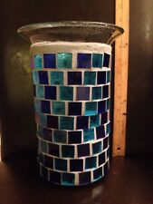 HUGE Mosaic Stained Glass Blue Hurricane Pillar Candle Holder Vase - Gorgeous