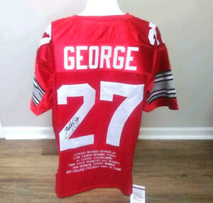 Eddie George Autographed Signed Ohio State XL Stat Jersey 1995 Heisman - JSA