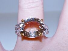GENUINE 8.35ct Brazilian Champagne Topaz Oval Cut Ring Solid Sterling Silver 925