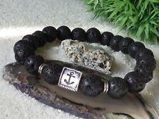 Lava Armband Anker 10 mm Perlen Metall Silber Schwarz Maritim Unisex Geschenk