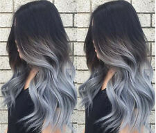 100% European Real Human Hair Wigs Wavy Ombre Grey Lace Front Wig Full Lace Wigs