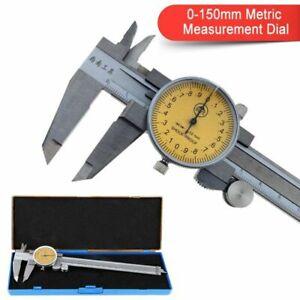 Metric Dial Caliper Micrometer Sliding Scale Vernier Gauge 0-150mm Steel + Case