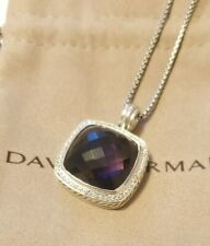 David Yurman Sterling Silver Albion 20mm Amethyst Pendant Necklace 16""