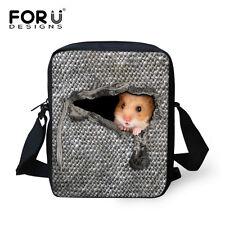 Men Womens Small Messenger Shoulder Bag Cross Body Bags Cute Hamster Printing