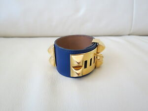 Hermes Collier de Chien Gold Plated and Blue Leather Adjustable Women`s Bracelet