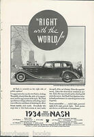 1934 NASH advertisement, Nash Motors Vintage Auto, huge sedan