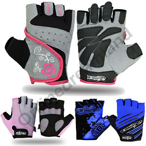 Ladies MTB Cycling Gloves Bike Half Finger Palm Bicycle Fingerless Gel Silicone