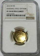 2014 W GOLD $5 BASEBALL HALL OF FAME PROOF COIN NGC PF 70 UC