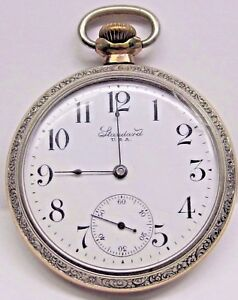 Antique Standard 50 mm, Silverroid/Yellow Gold Plated Pocket Watch 7 Jewels.