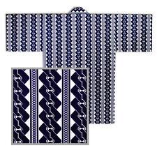 """JAPANESE 36""""L KIMONO HAPPI COAT ROBE YUKATA WHITE/NAVY CHAIN DESIGN MADE  JAPAN"""