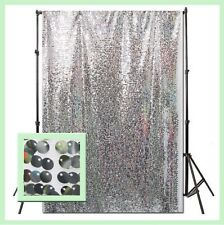 """Photo Backdrops / Curtain Panels Mesh Sequin 55"""" X 108"""" Silver"""