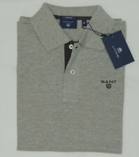 GANT PIQUE Cotton Contrast Collar Men's Regular Polo in Gray