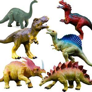 "Realistic Dinosaur Figure Toys, 6 Pack 7"" Large Size Plastic Dinosaur Set"