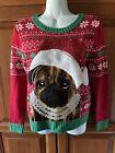 Girls Red Green Ugly Christmas Pug Sweater Sz 14/16