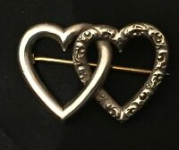 Antique Victorian Sterling Silver Double Heart Repousse Brooch Floral Pin Vtg