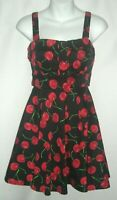 Ixia Pinup Cherry Print 50's Retro Modcloth Rockabilly Swing Black A-Line Dress