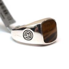 New DAVID YURMAN Men's Silver & 12mm Cushion Tiger's Eye Signet Ring Size 10