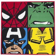 MARVEL COMICS DEFENDERS SQUARE RUG FLOOR MAT NEW IRON MAN SPIDERMAN