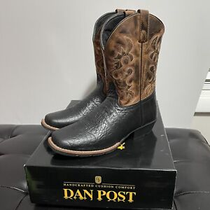 "Dan Post 9"" Black/Rust Cowboy Western Boots DPC3944 Size 5.5 Boys Youth Square"