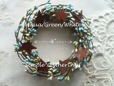 "Berry Wreath Candle Ring Stars 4"" Seabreeze AQUA TEAL GREEN WHITE Pips Cottage"