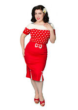 NEW Rockabilly 50s Vintage Wiggle Skirt - Flattering Miss Fortune Red Skirt- S