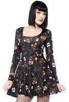 Sourpuss Dress Skater Black Cats Black Halloween 50s Rockabilly Goth S - 3XL