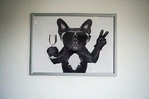 Abstract French Bulldog Canvas Picture 50x70cm