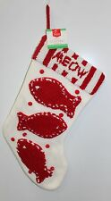 "Cat Christmas Stocking 19"" Red White Meow Holiday Decoration Cute Pet Winter New"