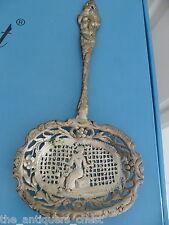 """Antique sterling silver repousse spoon, 8 1/2"""" long[a4cut]"""