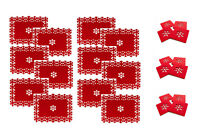 Set of 12 Christmas Placemats + 12 Coasters Snowflake Lazercut Red Felt Table