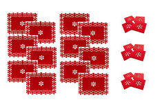 Set of 12 Christmas Placemats + 12 Coasters Snowflake Lazercut Red Felt Table