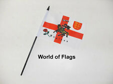 "ROSE LION SMALL HAND WAVING FLAG 6"" x 4"" England St George Cross Table Desk Top"