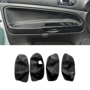 REPLACE-4*BLACK Inner Door Panel Armrest Leather cover For VW Passat B5 98-2005