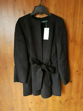 RRP £385 - RALPH LAUREN ZILGA WRAP COAT Black Wool Jacket M / UK 12-14 - NEW