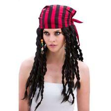 Pelucas y postizos negros de pelo para disfraces y ropa de época, piratas