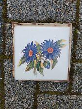 1x sehr alte RAKO Made in Bohemia bemalte Blumen Fliese Kachel Keramik 5-41-F3