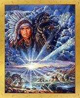 Indian Chief & Tepees Native American Golden Framed Wall Decor Picture (18x22)