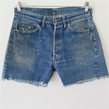 VINTAGE ORIGINAL LEVIS 501 BIG E JEANS CUT OFF SHORT DENIM REDLINE SELVEDGE W32