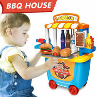 Kids Toy BBQ Shop Cart Carry Case Pretend Role Play Barbecue Grill Set DIY Gifts