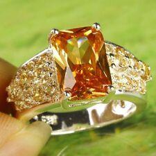 Emerald & Round Cut Citrine Gems .925 Sterling Silver OL Ring Sz 7 R-226