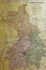 1898 ORIGINAL COUNTY MAP CAMBRIDGESHIRE MARCH ELY NEW MARKET WISBECH CHESTERTON