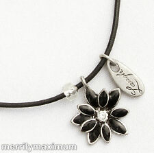 Chico's Signed Necklace Charms Silver Tone Black Enamel Flower Heart