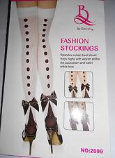 New Ladies, Girls,Women Seamless Fashion White Stockings with Satin Ankle Bow