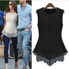 Women Girl Casual Summer Lace Ruffle Floral Tank Top Blouse Shirt Clothes Blusas
