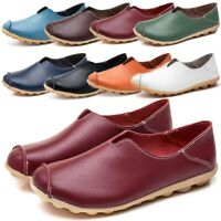Womens Casual Slip On Leather Oxford Shoes Moccasins Comfy Driving Flat Loafer Y