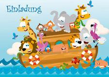 6 drôle cartons d'invitation, pour un anniversaire d'enfant/Zoo-animaux sur le