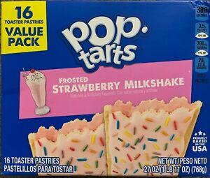 NEW POP TARTS FROSTED STRAWBERRY MILKSHAKE 27 OZ (768g) BOX 16 TOASTER PASTRIES